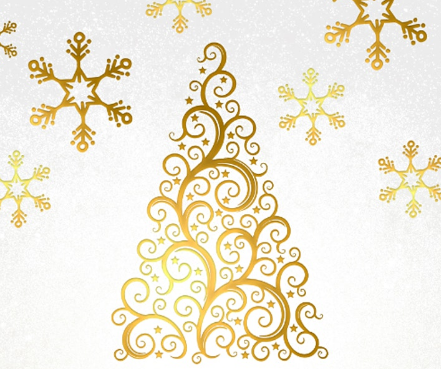 A fancy christmas tree in gold.